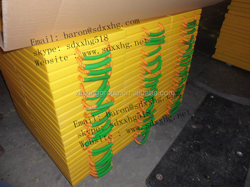 mobile truck crane yellow UHMWPE outrigger pad, PVC hose, Nylon rope
