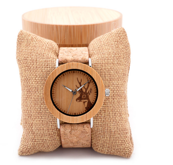 Bobo bird brands deer head design fashionable wholesale cheap bamboo wrist watch wooden face watches with genuine leather strap