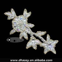 Shiny Crystal Diamante Applique With Gold Beads Border / Bridal Rhinestone Applique For Dresses/ Headband /Hat Decoration DH-757