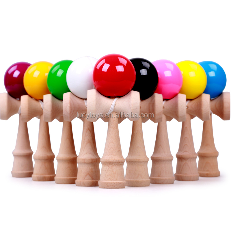 2016 wholesale stock toys PU wooden kendama toy