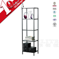 Black Steel Corner Display Shelf Bookcase Home Living Room Furniture Storage Design