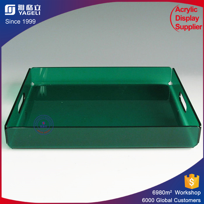 Dark green simple style premium acrylic tray for coffee tea drinks storage case hot sale