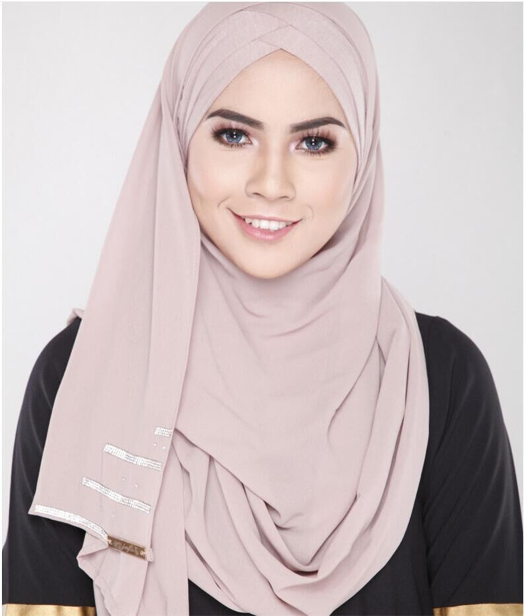 Womens Solid Color Muslim Islamic Hijab Maxi Tudung Instant With Elastic Inner