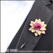 new design Custom Flower Wood Lapel Pins