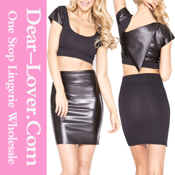 New Design Wholesale Black Leatherette Stitching Versatile Skirt Set stage tight leather dress
