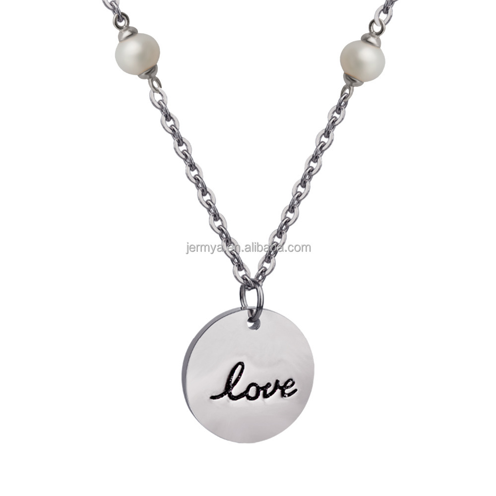 Jermya Love Necklace Sterling Silver Disc Pendant Necklace With Engraved Letter and Pearl beads