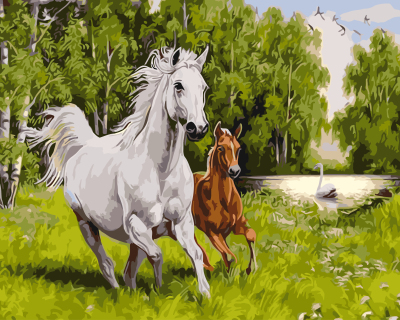 GX9964- 40*50 Yiwu factory wholesale SGS modern Artwork Wall Art running two horse rich color for Home Decorations