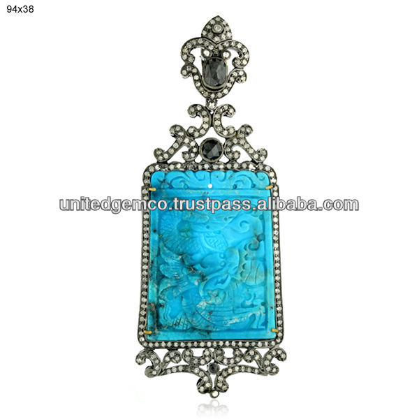 Gemstone Pendants Jewelry, Diamond Themed Pendants, Turquoise Gemstone Themed Pendants