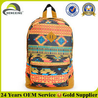 Colorful leather patch leisure canvas wholesale backpack