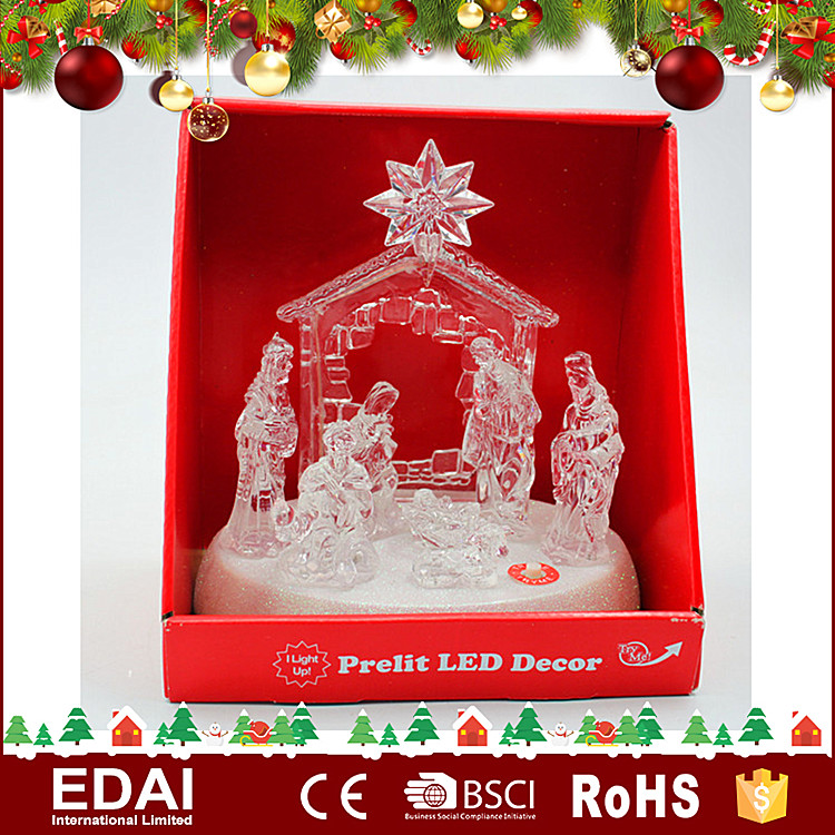 Hot selling transparent acrylic LED decoration christmas nativity scene