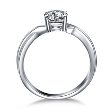 Engagement Precious Round Brilliant Cut real diamond ring 18k white gold jewelry