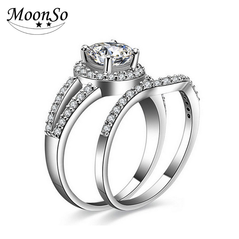 Free sample factory price 925 sterling silver engagement wedding ring sets band ring set for bridal women moonso KR235S