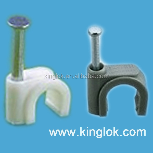 plastic wall nail nylon cable clips Round Steel nail Plastic Cable Clip Electrical Wire Clips