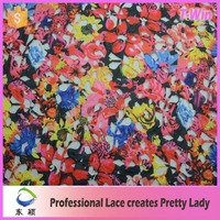 2016 Multicolor flowers guipure digital printing lace fabric mesh base lace