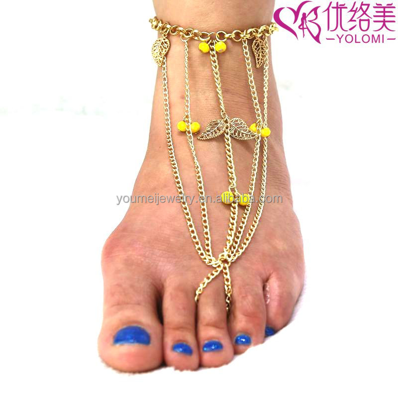 Wedding Anklet Barefoot Chain Indian Foot Chain Jewelry Anklet Chain With Toe Ring FC-60644