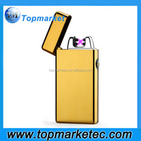 New Arrival Multi Color gold Double Arc usb Rechargeable Lighter with LED Dual Arc
