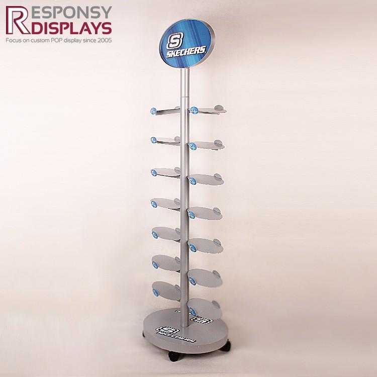 Creative Metal Shoe Floor Display Stand Custom Shoe Rack Display With Two-sided Hook For Retail Store