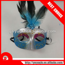 Venetian masquerade mask with sticky handmade feather flower