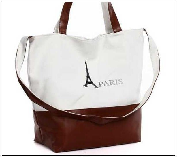 PU Canvas Beach Towel Bag, PARIS Eiffel Tower Print Canvas Handbag Shoulder Bags Shopping Bags