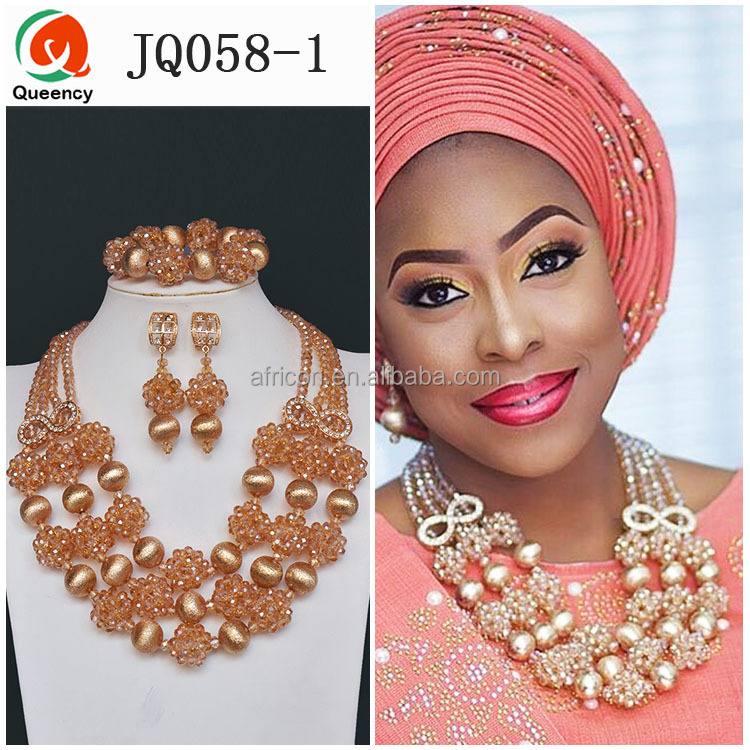 JQ058 Queency 2017 Wholesale African Nigerian Wedding Party Coral Beads Necklace Jewelry Set