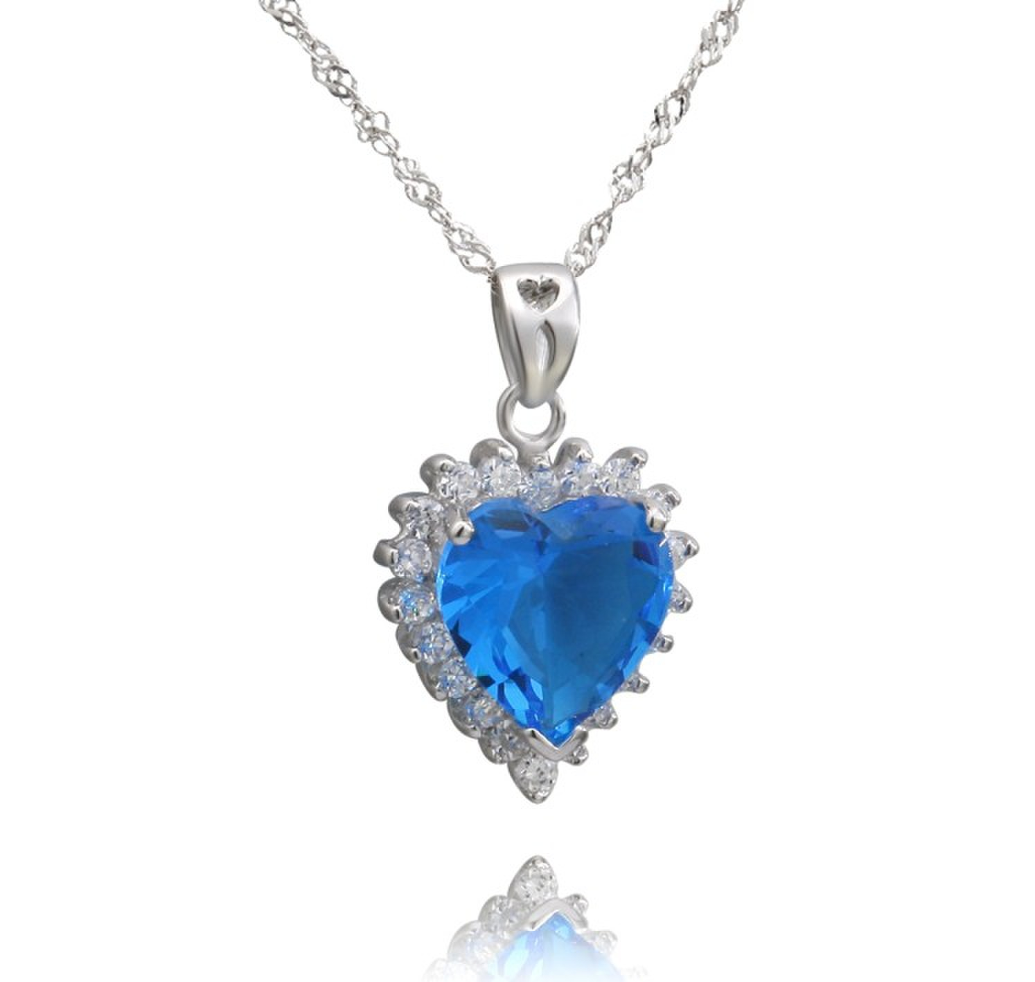 Factory wholesale 925 sterling silver Heart of the ocean pendant necklace