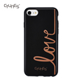 IMD Gold Love Printed Black Ultra-Thin Slim Soft TPU Cover With Matte Finish Back Protective Case For iPhone8