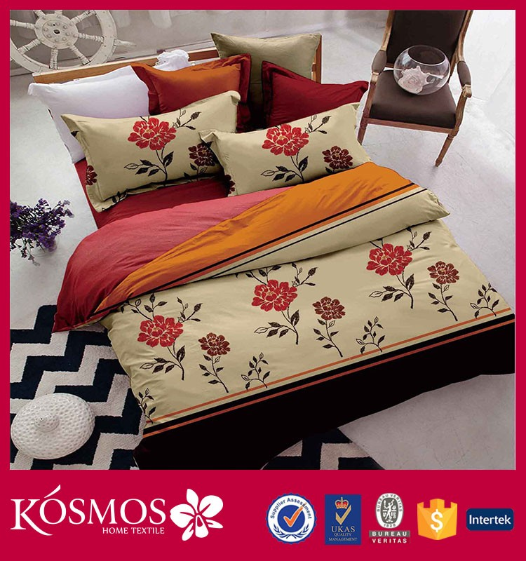 China wholesale flower design 100% polyester queen size printed bed sheets in faisalabad