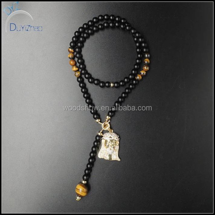 NEW ICED OUT tiger eye bead JESUS CHARM HIP HOP ROSARY