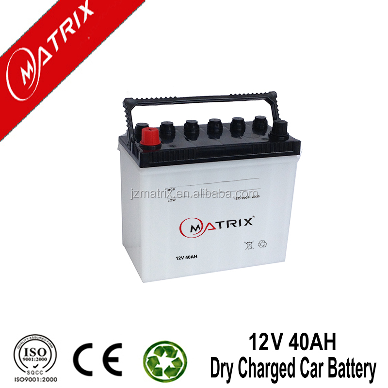 high quality rechargeable dry charged auto car battery 12v 40ah n40