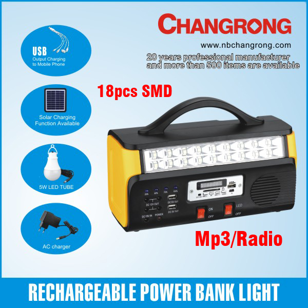 rechargeable portable power bank with SMD light mp3 radio