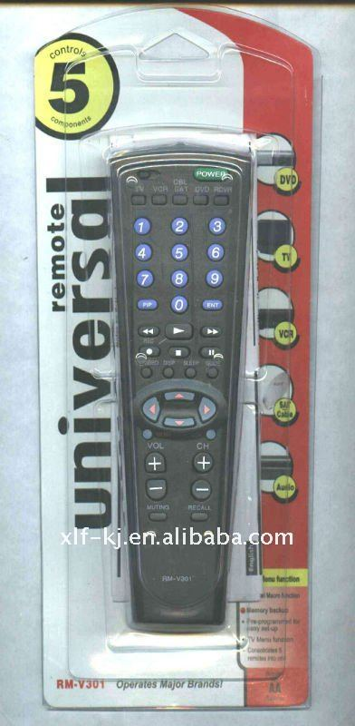 RMV 301 operates major brands of DVD/TV/VCR/SAT/AUDIO 5 in 1 remote universal