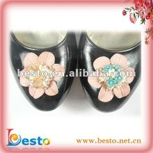 SF0145G decorative removable lady high heel rhinestone leather flowers for shoes