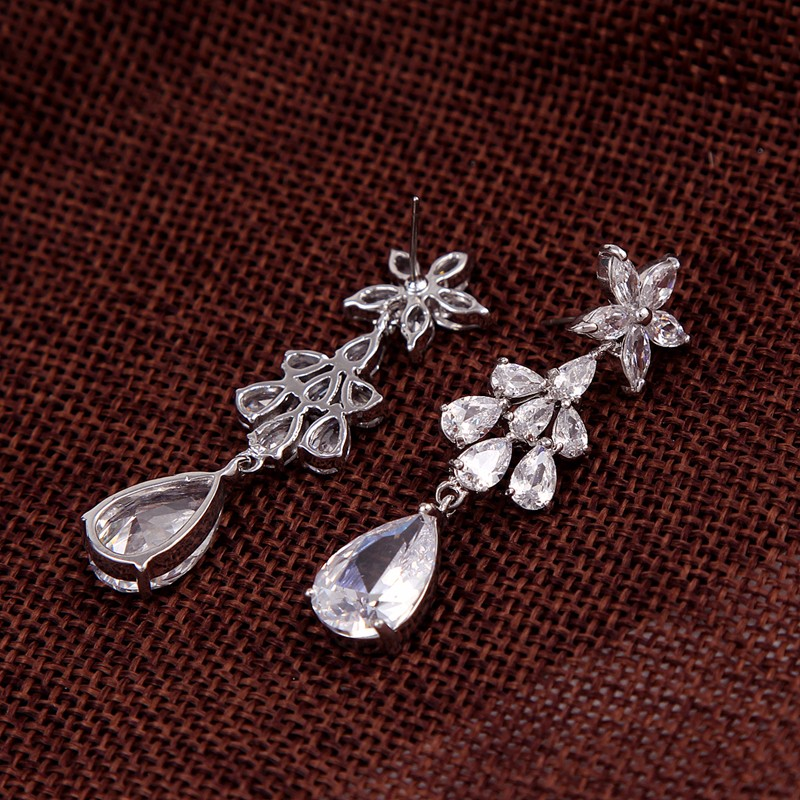 Bridal Flower Cubic Zircon Ladies earrings designs pictures jewelry cz