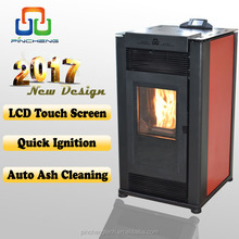 Auto ash clean small pellet stove with color touch screen controller