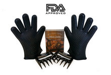 FDA food grade L size heat resistant waterproof 5 fingers silicone bbq grilling cooking gloves