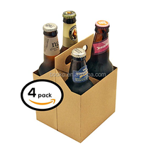 Durable Cardboard Tote, Box Holds 4 Regular Cans, 4 Pack Beer Carrier Packaging Box