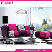 Lifestyle living room furniture modern fabric mixed color purple sectional sofa
