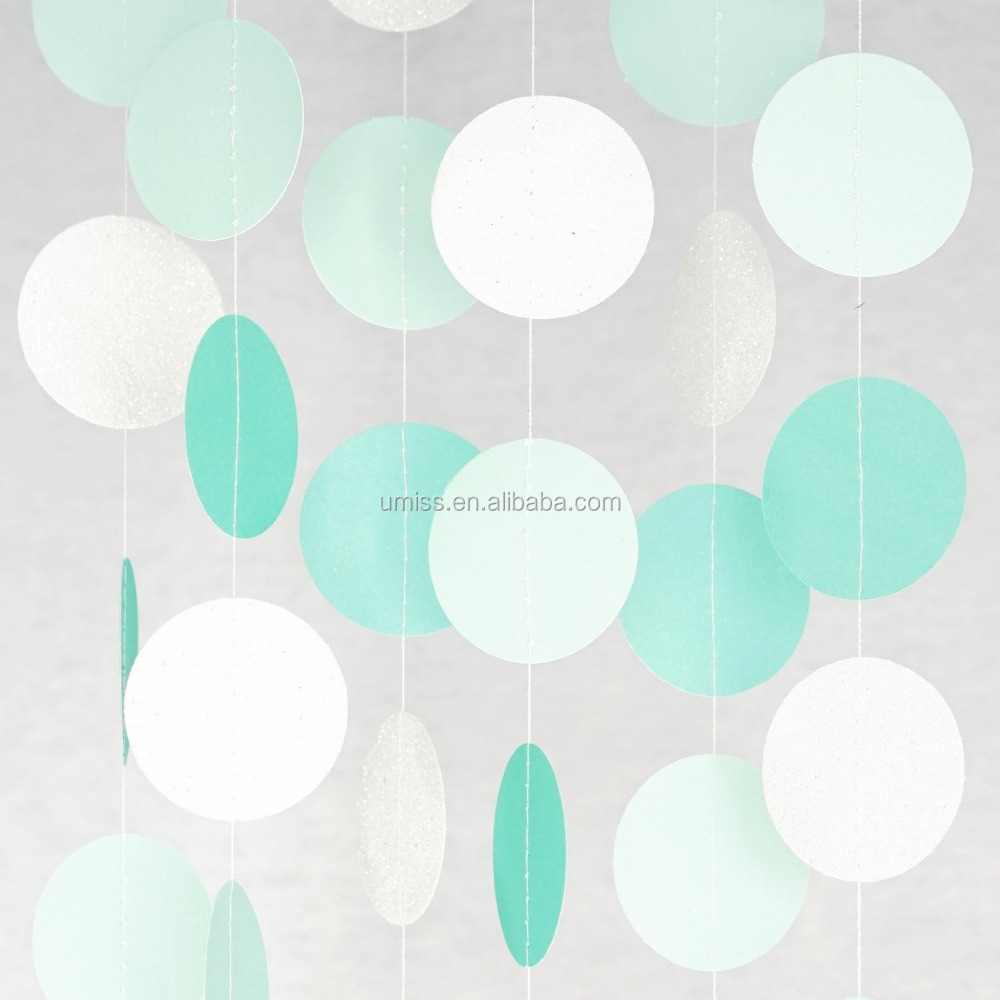 New products 2016 Circle Paper Garland (10' Long), Aqua/Mint/Pearl White