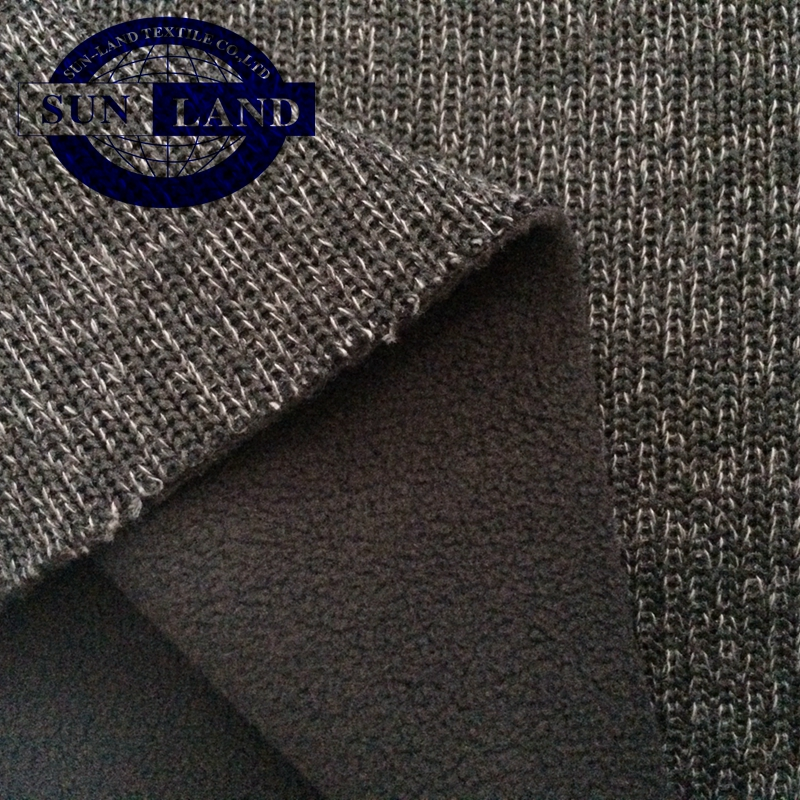 bonded polyester plush and melange fleece fabric for winter hoodie
