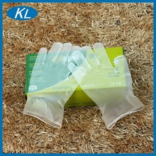 Clear disposable manicure non-toxic coated working vinyl gloves with cheap price