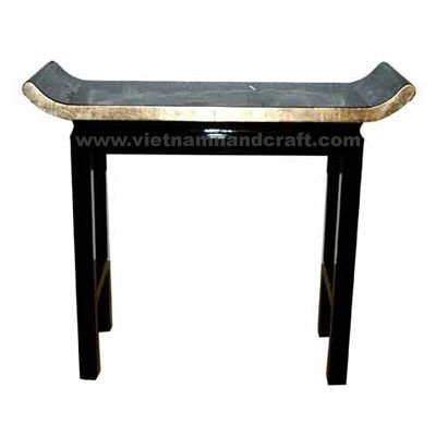 Quality eco-friendly traditionally hand finished vietnamese lacquer bamboo accent furniture in black & light gold leaf