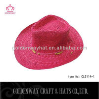 ladies fashion hot pink cowboy hat