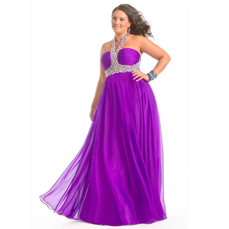3c50d70fea0 Get Quotations · Long Evening Dress Chiffon Beading Halter Evening Dresses  For Plus Size Women Formal Dresses Vestido De
