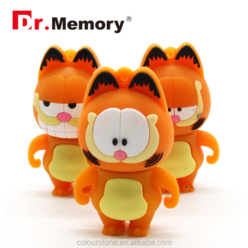 Dr.memory wholesale Garfield shape silicone usb flash drive with 100%full capacity,best gift for kids