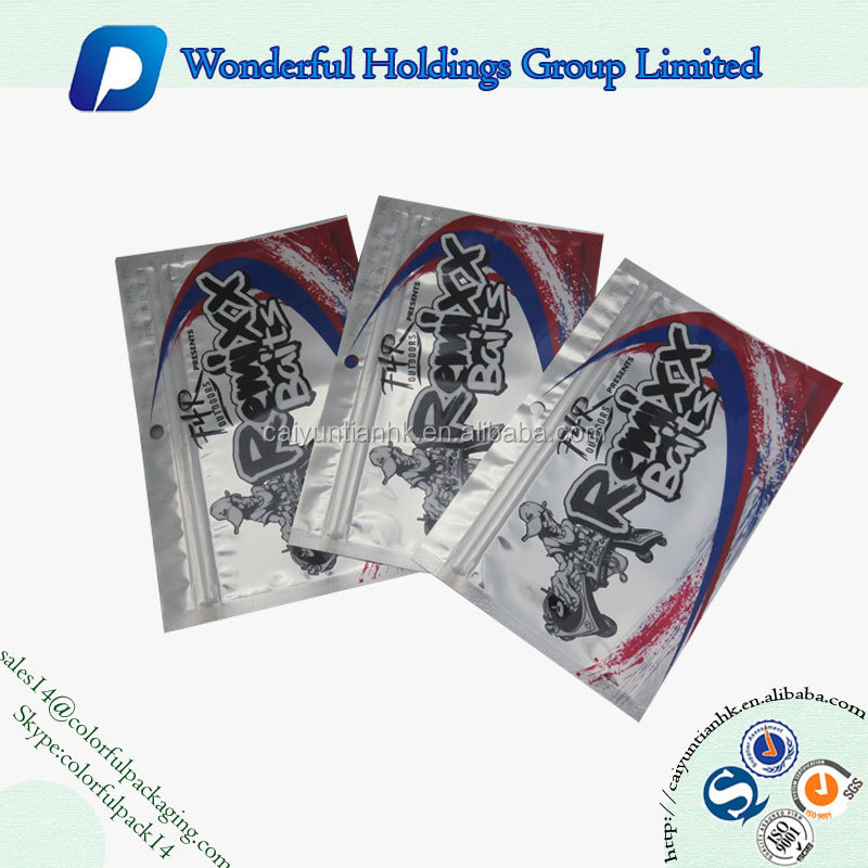 Customized aluminum foil fishing lure packaging bags small ziplock plastic bag for fish hook