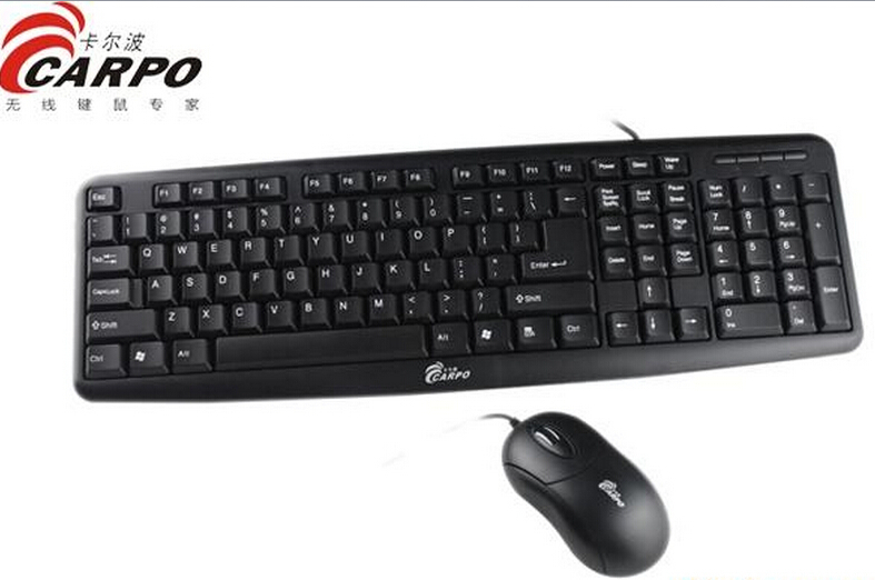 F11002 CARPO T500 Wired Combo USB Optical Mouse + 104 Keys PS/2 Round Gaming Keyboard for Desktop Computer PC + FreePost