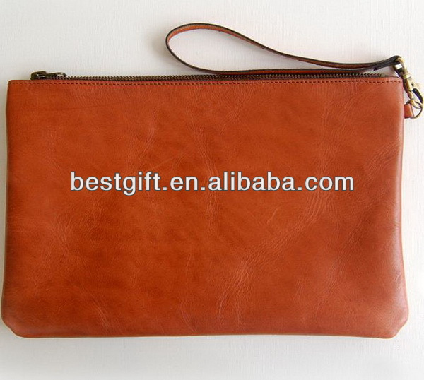Brown genuine leather sleeve case bag for 7inch tablet pc