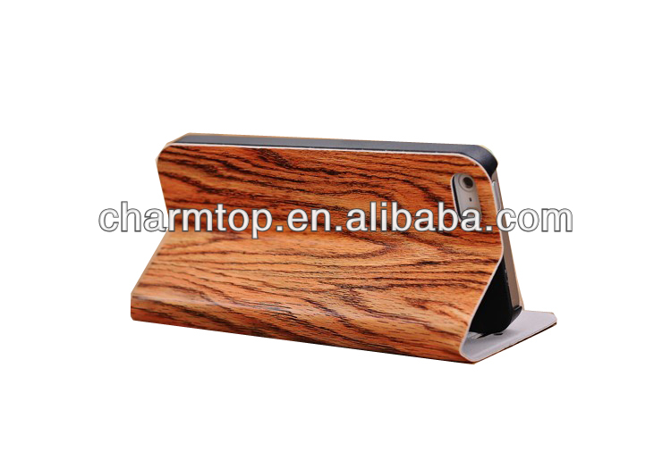 Wood Leather Stand Case For Apple iPhone 5C