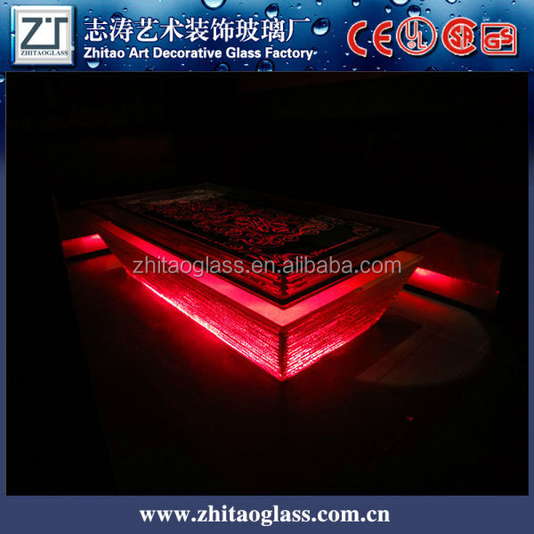Alibaba wholesale led red glass and brass coffee table