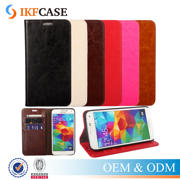 Retro Style Oil Wax Stand PU Leather Flip Case for Samsung Galaxy S5 with Card Holder Slot Case